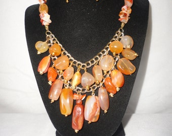 Exquisite Carnelian Nuggets Gold Tone Necklace Earrings Set.