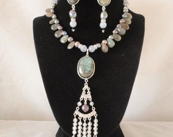 Gorgeous Faceted Labradorite Pearls Aquamarine Necklace Set*******.