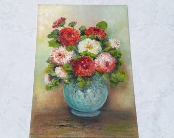 French Original oil Floral Painting - pink and red Flower Bouquet Oil Painting French Art