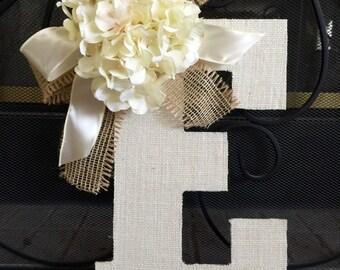 MONOGRAM WREATH , Front Door Wreath , Nursery Wreath , Burlap Letter, Burlap Monogram with Bow, Wedding Decoration, Wedding Wreath