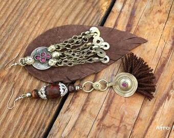 Loa asymmetrical native tribe nomad vintage earrings
