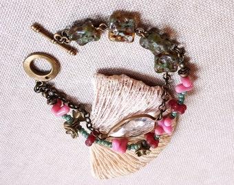 Boho double strand Czech glass bracelet