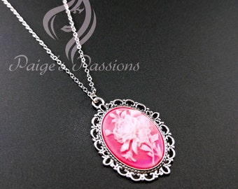 Bright Pink Floral Cameo Vintage Inspired Necklace