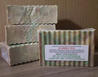 Cranberry Pear - Organic Goat Milk Triple Butter Soap Bar - 5-6oz. Each