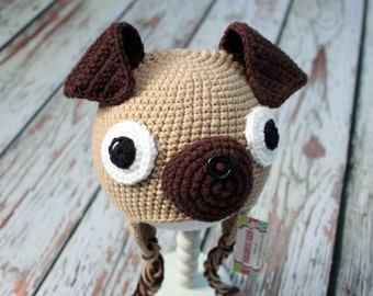 Pug Hat, Dog hat, baby - adult sizes, Natural Cotton Fiber, sizes - hand crocheted in 100% natural cotton