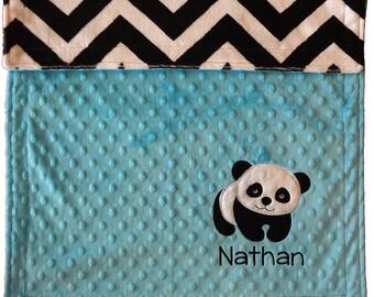 Panda Bear Baby Blanket, Personalized Minky Baby Blanket, Chevron Panda Baby Blanket, Panda Nursery