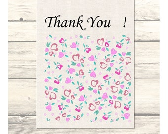 Field of Hearts Wedding Thank You Cards Customizable - Printable Digital Download