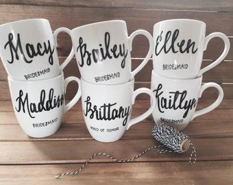 bridesmaid mugs . personalized tea cups . getting ready gifts . bridesmaid gifts . personalized gifts .