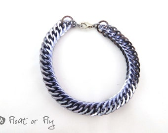 Half Persian Chain Maille Square Ring Bracelet - Purple & Grey
