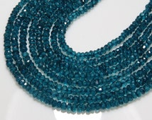 Topaz - 14 Inches Long Micro Cut Faceted Rondelle Beads Mystick London blue color Coatted Nice Shine Real Wholesale Price size 3.5 mm