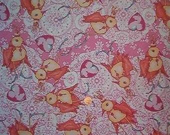 "FREE SPIRIT cotton quilt fabric-""Dancing King""-birds-1 yard"
