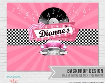 "1950's Sock Hop Backdrop // Grease Theme Backdrop // 50""s Backdrop // Vintage Backdrop"