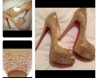 Custom heels with Swarovski Crystals