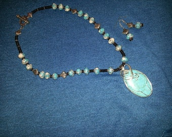 Azure Cerulean beaded Necklace and Wrapped Pendant and matching earrings Set