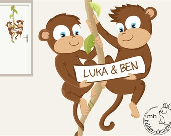 """wall decal """"two monkeys"""" door sign for the nursery"""