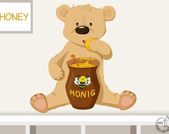 "Wall decal ""honey bear"" personalizable wall sticker for baby  nursery children's room"