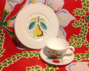 Viintage Westmoreland milk glass beaded edge #22 fruit plate, cup, and saucer