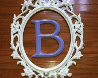 Framed Initial Letter in Large Oval Ornate Frame / Large Open Back Frame You Choose Letter /