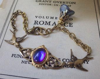 Art Nouveau. Bird Bracelet. Colorful. Swallow Bracelet. Bermuda Blue. Bird Jewelry. By LadyofTheLakeJewels