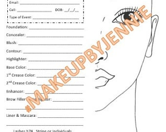 Makeup Face Chart Sheet Instant Downloadable PDF File