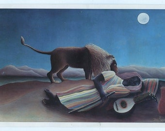 Postcard featuring Painting by Henri Rousseau, The Sleeping Gypsy