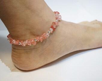 Cherry Quartz Anklet, Crystal Quartz Anklet,  Stone Anklet