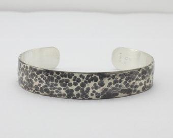 Oxidized Sterling Silver Cuff Bracelet - Hammered Cuff Bracelet - Leopard Print Cuff - Organic Cuff - Mens Cuff - Womans Cuff