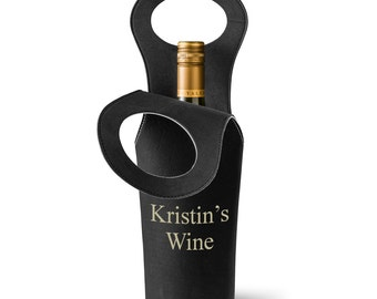 Personalized Wine Tote - Personalized Wine Carrier - Monogrammed Wine Carrier - Gifts for Her - Mother's Day Gifts - GC1363 Black