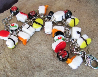 Sushi Bracelet- Silver / Sushi Charm Bracelet with Lampwork Glass Beads