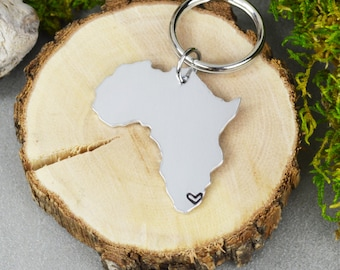 Africa Keychain or Necklace - Best Friend Gift - Couples Gift - Long Distance Love