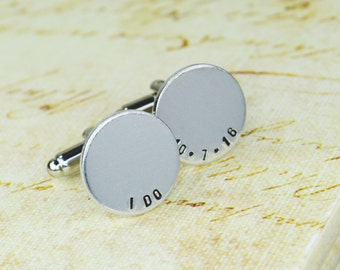 Custom Date Cuff Links - Hand Stamped Groom Gift
