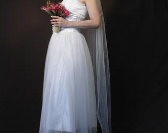 "Wedding veil, Waltz length 65"" long with pencil edging."