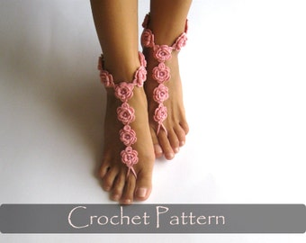 CROCHET PATTERN - Flower Barefoot Sandals Crochet Pattern Nude Shoes Bridal Sandals Bridesmaids Nude Wedding Foot Jewelry PDF - P0027