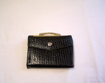 Lady Bosca black leather wallet with red interior