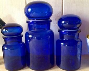1970s Vintage Cobalt Blue Apothecary Jars - Made in Belgium - set of three - stunning