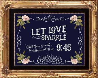 sparkler send off sign, custom sparkler sign, navy pink sparkler sign, printable sparkler sign, light the way sign, 8 x 10, YOU PRINT