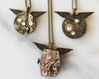 Watch Movement Necklace Steampunk Gears Wings Swarovski Crystal