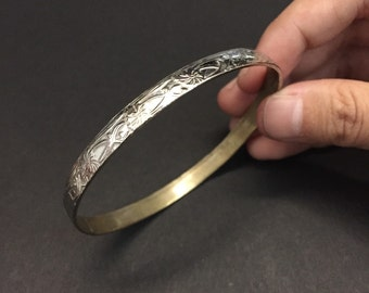 Vintage sterling silver handmade bracelet, Mexico 925 silver circle cuff