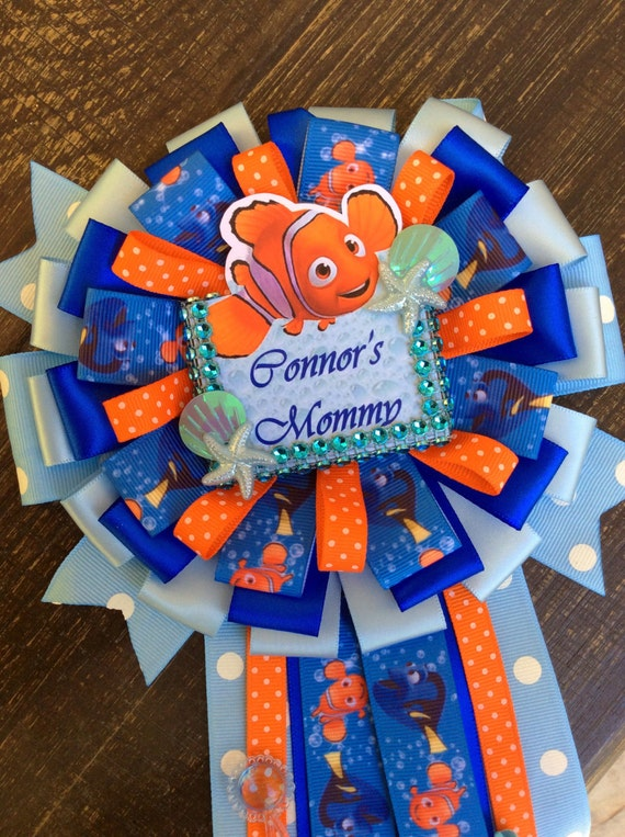 Finding Nemo Mommy To Be Pin  Finding Nemo Baby Shower  Boy Baby Shower  Finding  Nemo Corsage  Nemo Baby Shower  Mommy Corsage