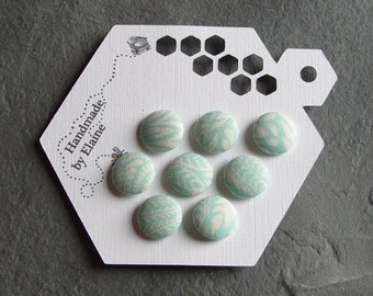 Fabric Covered Buttons - 8 x 15mm Buttons, Handmade Buttons, Light Turquoise On White Buttons, Aqua Blue Buttons, Blue Green Buttons, 2188