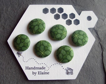 Fabric Covered Buttons - 6 x 19mm Buttons, Handmade Button, Forest Emerald Mint Absinthe Pine Bottle Pea Green Geometric Retro Buttons, 2442