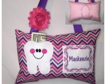 Tooth Fairy Pillow Girl Pink Purple Chevron Toothfairy Pillow