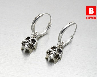 925 Sterling Silver Oxidized Earrings, Skulls Earrings, Hoop Earrings (Code : EB170B)