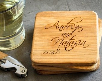 Custom Coaster Set, Personalized Coasters, Custom Bamboo Coasters: Wedding Shower, Housewarming Gift, New Couple