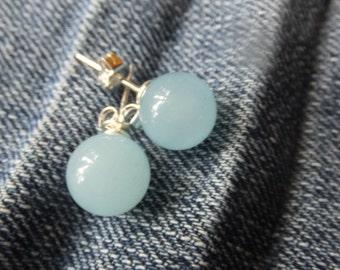 Jade and Sterling Silver Earrings
