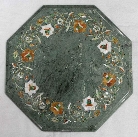 Green Table Top Marble Inlay Work Handmade