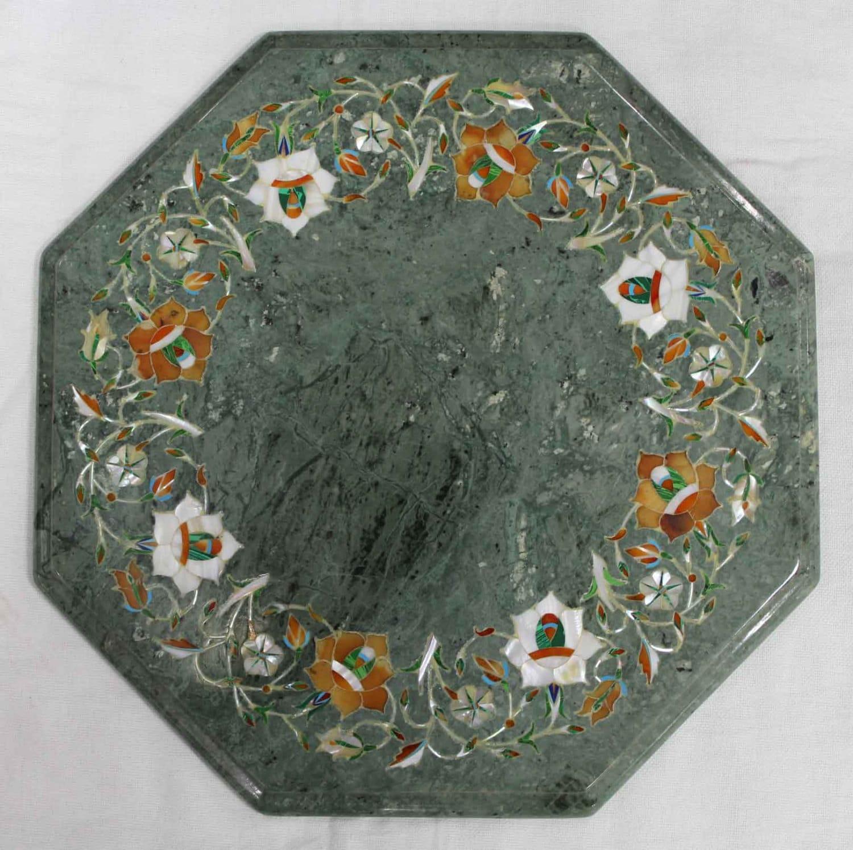 Marble Inlay Table Tops : Green table top marble inlay work handmade