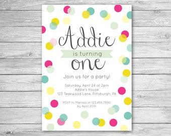 Polka Dot Invitation - Polka Dot Birthday Invitation - Birthday Invite - Printable Birthday Invitation