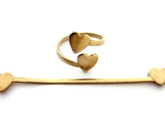 2x Brass Heart Wrap Rings FLAT - J008-B