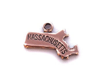 2x Rose Gold Plated Engraved Massachusetts State Charms - M131-MA